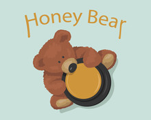 Brown Bear Toy With Pot Honey Top View. Cute Animal For Baby. Vector Illustration.