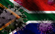 canvas print picture - 3D illustration, flag of South Africa with coronavirus COVID 19