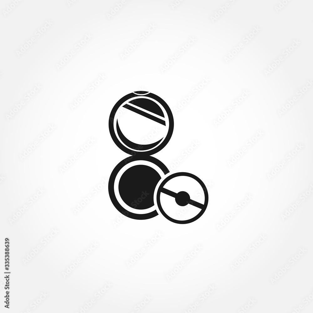 Fototapeta female powder and brush icon. isolated design element - obraz na płótnie