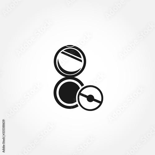 Fototapeta female powder and brush icon. isolated design element obraz na płótnie