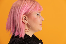Profile Portrait Of Young Woman With Pink Hair And Sparkle Makeup