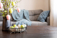 Spring Home Interior With Easter Tree And Vase With Colorful Self Isolation.