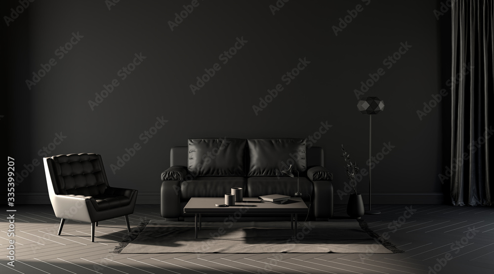 Fototapeta Empty wall, dark room with sofa and chair and floor lamp for poster mockups and backgrounds, 3d rendering
