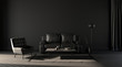 Leinwanddruck Bild - Empty wall, dark room with sofa and chair and floor lamp for poster mockups and backgrounds, 3d rendering