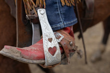 Close Up Red Cowboy Boot In St...