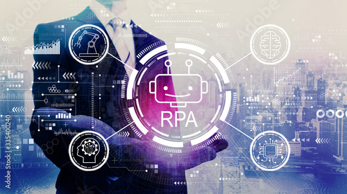 Robotic process automation concept with businessman on a city background Wallpaper Mural