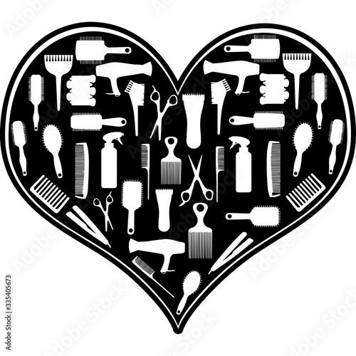 Love Hairdresser-heart_3.zip, Heart Hairdresser-heart_3.zip, Split frame Vector