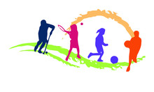 Its A Hockey, Badminton And Football (sport) Veector Logo With Different Colours To Make Your Logo Professional.