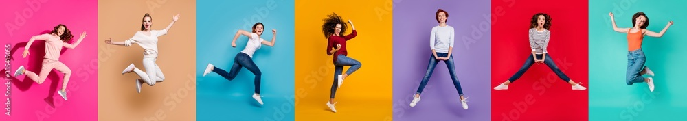 Fototapeta Motivation motion yes yeah concept. Full body collage of seven beautiful cheerful nice lucky different pretty ladies millennials in casual outfit jumping up isolated over multicolored background