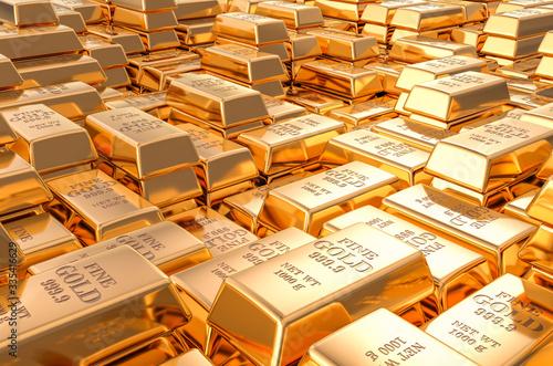Photo Gold ingots, bars background. 3D rendering
