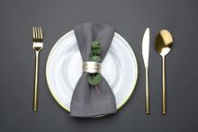 Elegant Table Setting On Black...
