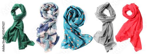 Valokuva Different beautiful scarves on white background