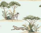 Vintage wyspa sawanny, roślin, drzewa akacjowego, gepard działa, lampart zwierząt kwiatowy wzór niebieski. Tapeta egzotycznego safari. - 335418896