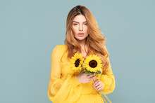 Natural Woman With Sunflowers.