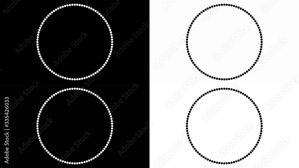 Fototapeta Laconic black and white background with circles in the style of minimalism