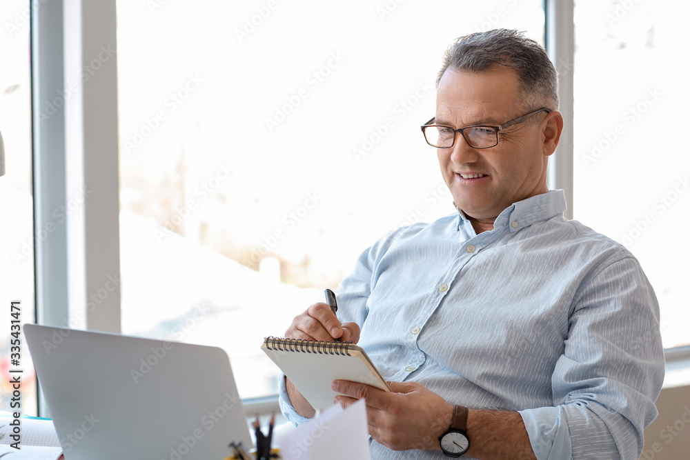 Fototapeta Mature man using laptop at home