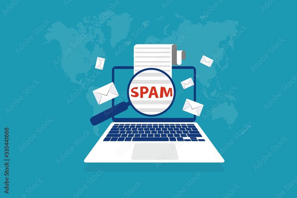 Fototapeta Spam Email Envelope Warning Window Appear On Laptop Screen