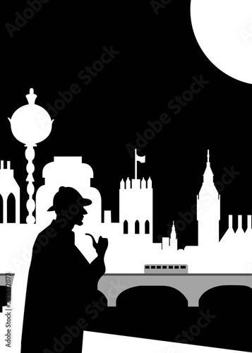 Photo Illustration of Sherlock Holmes at night with the city of London in the backgrou
