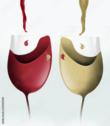 Two cartoonish stemware wine glasses gobble up streams of red and white wine in this illustration isolated on white Slika na platnu