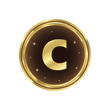 Gold Coin With Letter C Vector...