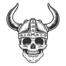 Vintage Skull In The Viking He...