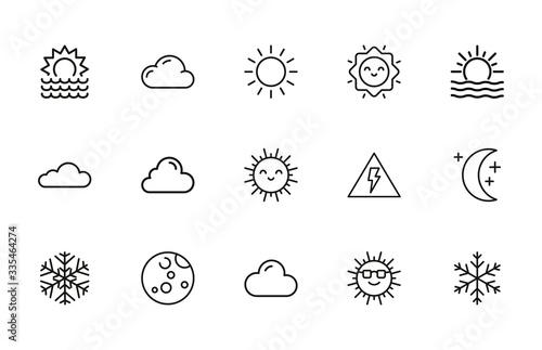 Fototapeta Set of weather related vector line icons. obraz