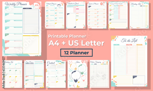 Obraz Minimalist diary, daily, monthly and weekly planner pages design collection set of vector template  - fototapety do salonu