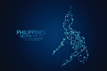 Abstract Mash Line And Point Scales On Dark Background With Map Of Philippines. Wire Frame 3D Mesh Polygonal Network Line, Design Sphere, Dot And Structure. Vector Illustration Eps 10