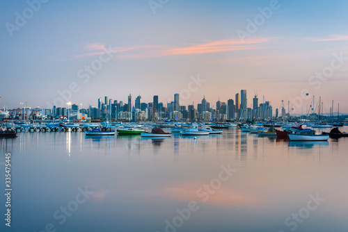 Sunrise over Melbourne skyline from Williamstown Canvas Print