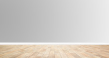 Wood Floor On Grey Wall Backgr...