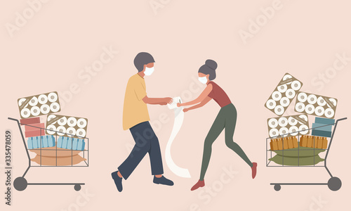 Fotomural Shopper male and female fight for the toilet paper and hoarding food to prepare