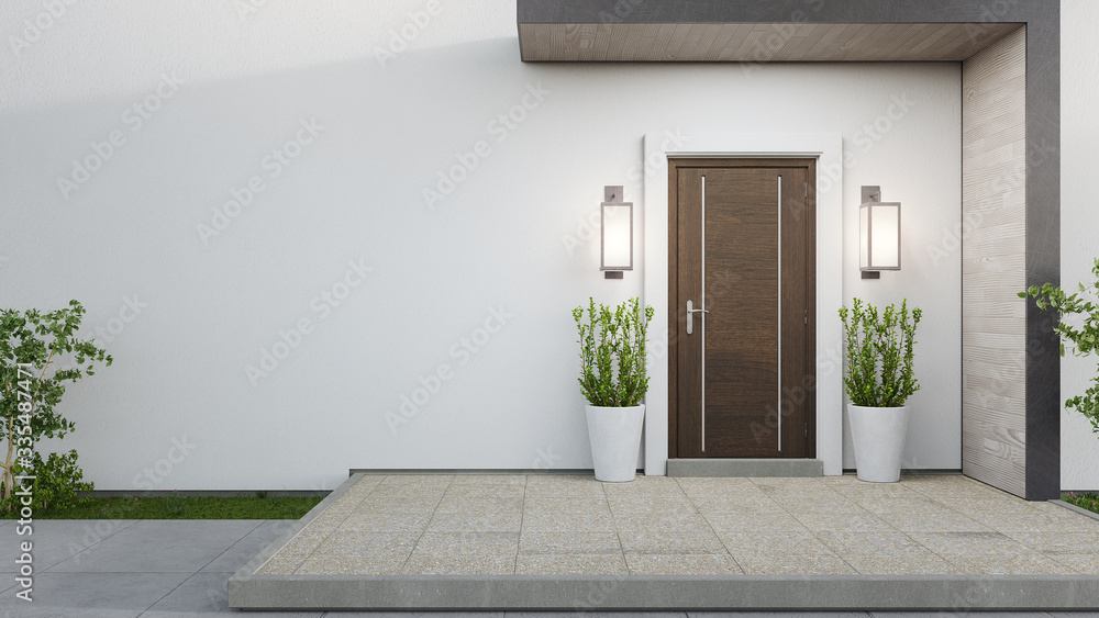 Fototapeta New house with wooden door and empty white wall. 3d rendering of large patio in modern home.