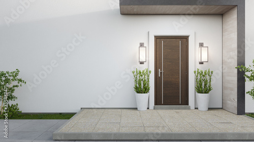 Carta da parati New house with wooden door and empty white wall