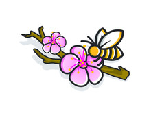 Cute Cartoon Bee With Flower O...