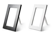 Set Of Blank Black And White Frames, Isolated On White Background