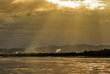 Sunset Mekong River In  Chiang...