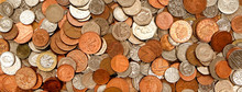British Currency, Hundreds Of Copper And Silver Coloured Coins Piled Randomly On Top Of Each Other, One Pond Coin, Fifty Pence, Twenty Pence, Ten Pence, Five Pence, Two Pence, One Pence