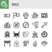 Red Simple Icons Set