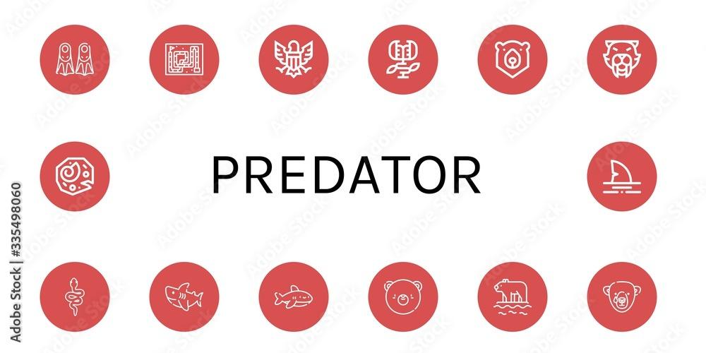 Fototapeta Set of predator icons