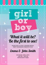 Girl Or Boy? Gender Reveal Party Invitation Card Vector Design