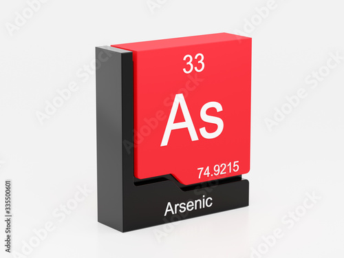 Photo Arsenic, periodic table element modern icon series, 3D rendered on white backgro