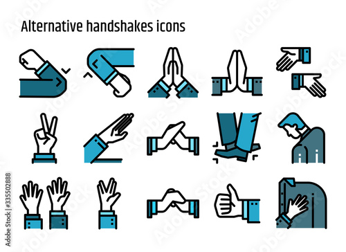Alternative handshakes color line icons vector set. Canvas Print