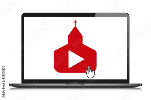Photo laptop mockup online church video streaming vector