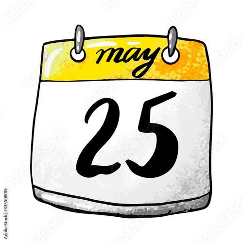 Fényképezés Calendar with the date of May 25 on a white background