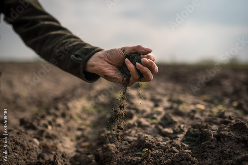 Female hands pouring a black soil in the field Canvas Print