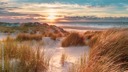 Canvas Print View from dune top over North Sea