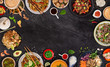 Leinwanddruck Bild - Asian food background with various ingredients on rustic stone background , top view. Vietnam or Thai cuisine.