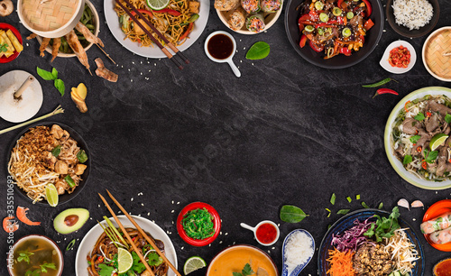 Obrazy do kuchni  asian-food-background-with-various-ingredients-on-rustic-stone-background-top-view-vietnam