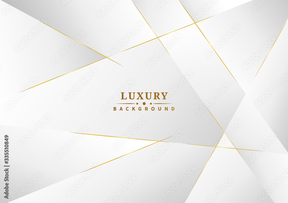 Abstract template white and gray color luxury background design. Geometric triangles with golden lines.