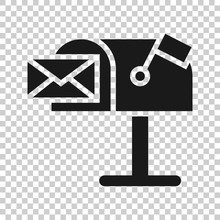 Mailbox Icon In Flat Style. Postbox Vector Illustration On White Isolated Background. Email Envelope Business Concept.